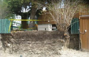 calgary concrete retaining wall replacement - concrete wall before photo